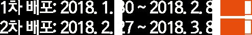 1차 배포: 2018. 1. 30 ~ 2018. 2. 8, 2차 배포: 2018. 2. 27 ~ 2018. 3. 8